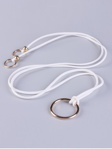 Latest Adjustable PU Leather Skinny Belt with Metal Rings - WHITE  Mobile