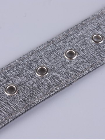 Chic PU Leather Adjustable Pin Buckle Fabric Belt - GRAY  Mobile