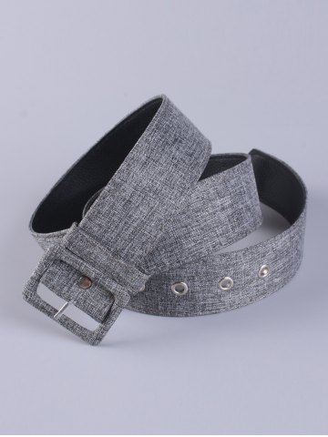 Unique PU Leather Adjustable Pin Buckle Fabric Belt - GRAY  Mobile