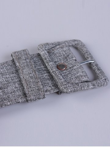 Sale PU Leather Adjustable Pin Buckle Fabric Belt - GRAY  Mobile