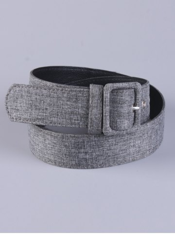 Latest PU Leather Adjustable Pin Buckle Fabric Belt - GRAY  Mobile