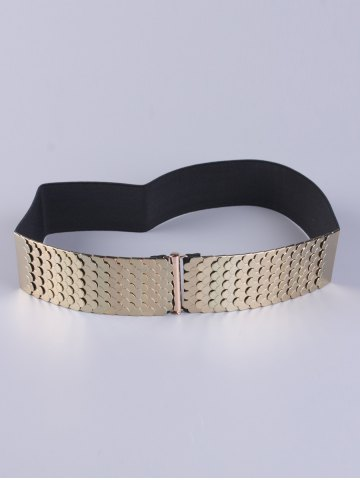 Double Side Disc Stretch Belt with Metal Plate - Black - 38