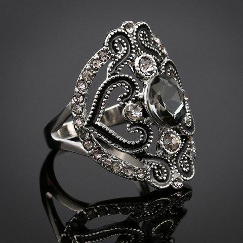 Shops Hollow Out Fake Crystal Ring - BLACK  Mobile