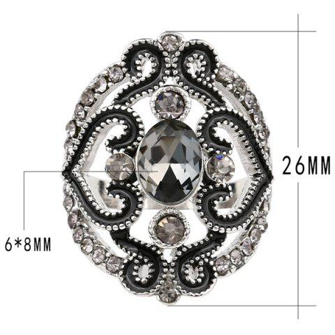 New Hollow Out Fake Crystal Ring - BLACK  Mobile