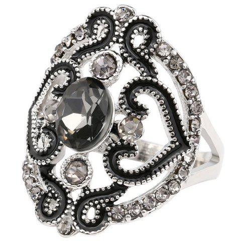 Fashion Hollow Out Fake Crystal Ring - BLACK  Mobile