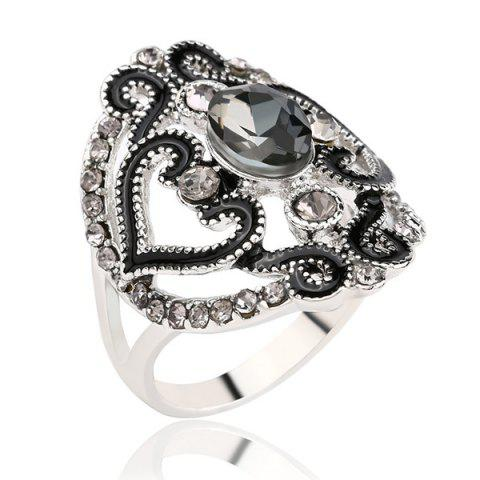Sale Hollow Out Fake Crystal Ring - BLACK  Mobile