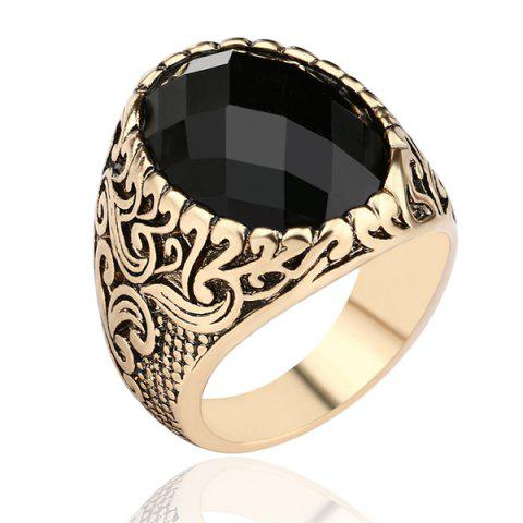 Store Carved Burnished Faux Gem Finger Ring CHAMPAGNE 18