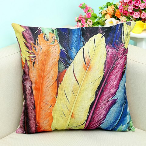 Cheap Artistic Colorful Feather Printed Sofa Decorative Pillow Case