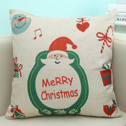 New Merry Christmas Santa Printed Sofa Decorative Pillow Case BEIGE