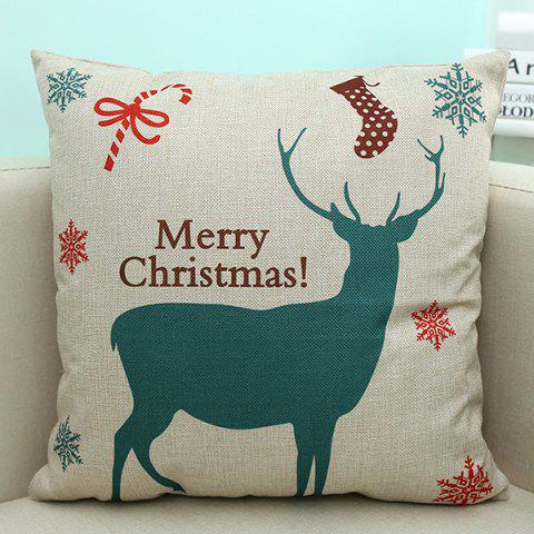 Trendy Sofa Decorative Merry Christmas Deer Printed Pillow Case BEIGE