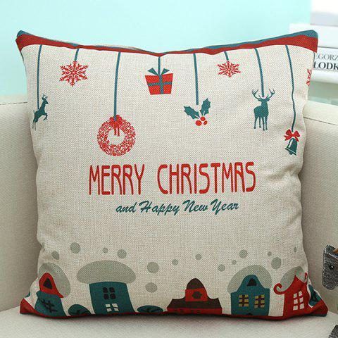 Shop Sofa Decorative Merry Christmas Cartoon Printed Pillow Case BEIGE