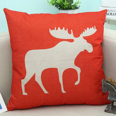 Flax Christmas Deer Printed Sofa Decorative Pillow Case - WATER RED