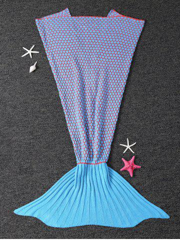 Store Thicken Knitted Dot Sleeping Bag Kids Wrap Sofa Mermaid Blanket BLUE