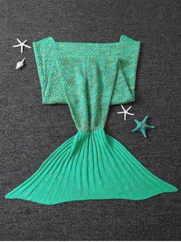 Outfits Polka Dot Design Bed Sleeping Bag Knitted Wrap Sofa Mermaid Blanket - TURQUOISE  Mobile
