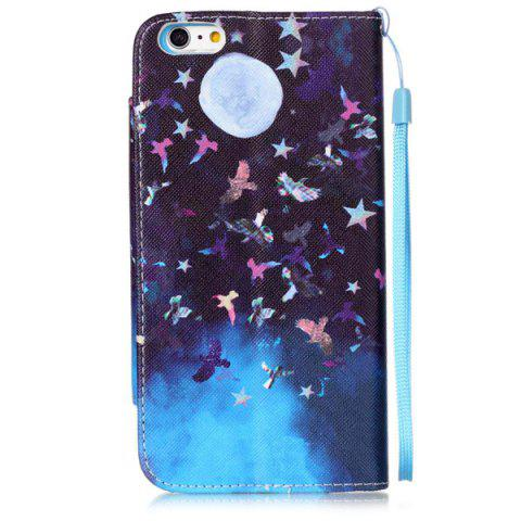 Buy Moon Night PU Wallet Card Design Flip Stand Cover For iPhone 6S - BLUE AND BLACK  Mobile