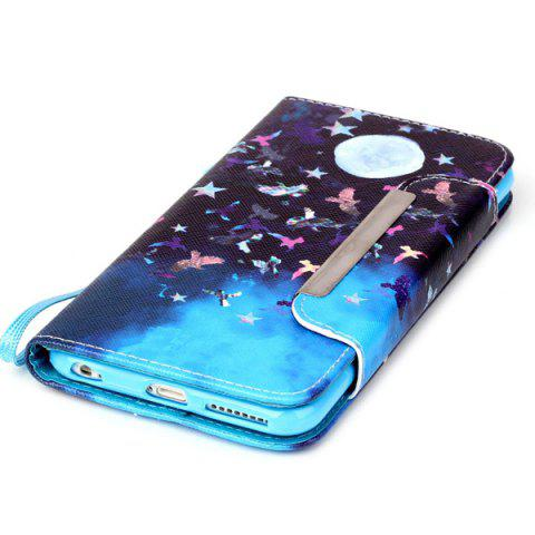 Chic Moon Night PU Wallet Card Design Flip Stand Cover For iPhone 6S - BLUE AND BLACK  Mobile