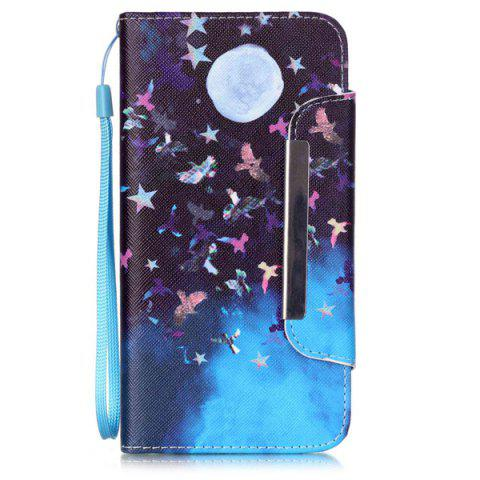 Store Moon Night PU Wallet Card Design Flip Stand Cover For iPhone 6S - BLUE AND BLACK  Mobile