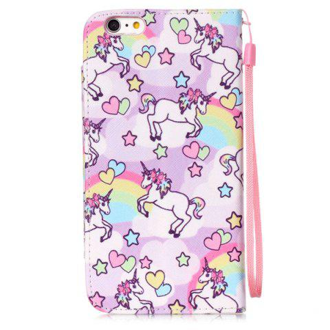 Chic Flip Stand Cartoon Horse PU Wallet Card Holder Case For iPhoner 6S - PINK  Mobile