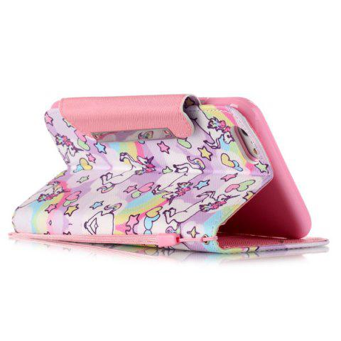 Discount Flip Stand Cartoon Horse PU Wallet Card Holder Case For iPhoner 6S - PINK  Mobile