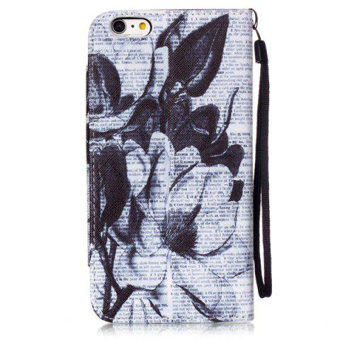 Fancy Newspaper Floral PU Wallet Card Holder Design Case For iPhone 6S Plus - WHITE AND BLACK  Mobile