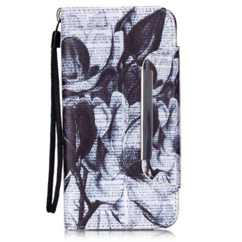 Affordable Newspaper Floral PU Wallet Card Holder Design Case For iPhone 6S Plus - WHITE AND BLACK  Mobile