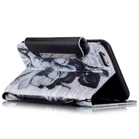 Store Newspaper Floral PU Wallet Card Holder Design Case For iPhone 6S Plus - WHITE AND BLACK  Mobile