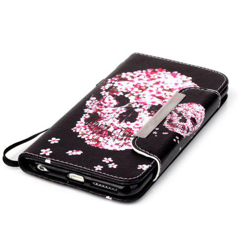 Online Floral Skull Pattern PU Wallet Card Slot Cover Case For iPhone 6S Plus - RED WITH BLACK  Mobile