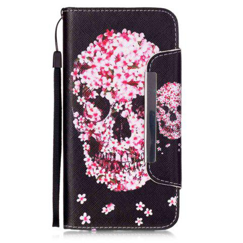 Fancy Floral Skull Pattern PU Wallet Card Slot Cover Case For iPhone 6S Plus - RED WITH BLACK  Mobile
