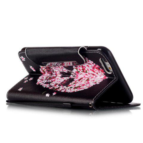 Sale Floral Skull Pattern PU Wallet Card Slot Cover Case For iPhone 6S Plus - RED WITH BLACK  Mobile