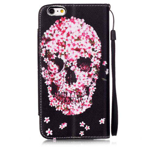 Store Floral Skull Pattern PU Wallet Card Slot Cover Case For iPhone 6S Plus - RED WITH BLACK  Mobile