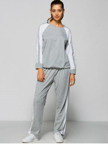 Online Raglan Sleeve Striped Sweatshirt + Pants - M GRAY Mobile