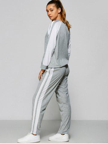 Discount Raglan Sleeve Striped Sweatshirt + Pants - M GRAY Mobile