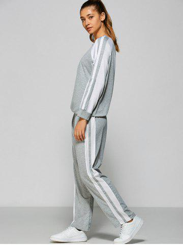 Sale Raglan Sleeve Striped Sweatshirt + Pants - M GRAY Mobile