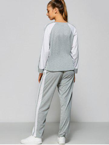 Outfits Raglan Sleeve Striped Sweatshirt + Pants - M GRAY Mobile