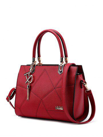 Fancy Stitching Textured Leather Metal Tote Bag WINE RED