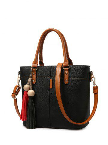 Store Metal Tassels Colour Spliced Tote Bag