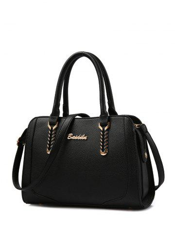 Trendy Metallic Textured Leather Stitching Tote Bag