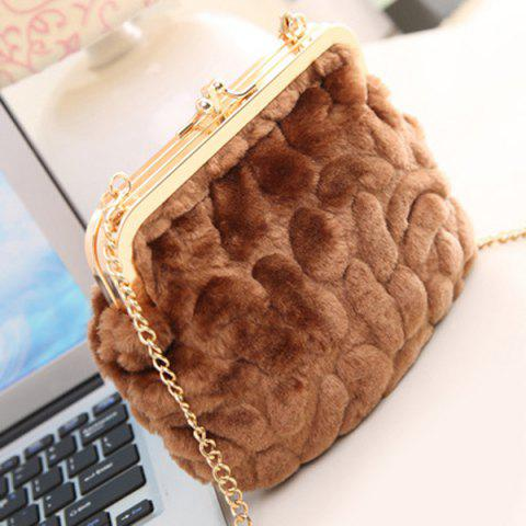Latest Metal Trimmed Faux Fur Evening Bag - COFFEE  Mobile