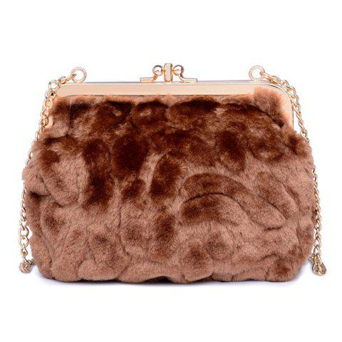 Sale Metal Trimmed Faux Fur Evening Bag COFFEE