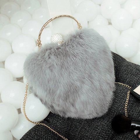 New Metal Faux Fur Heart Shape Evening Bag