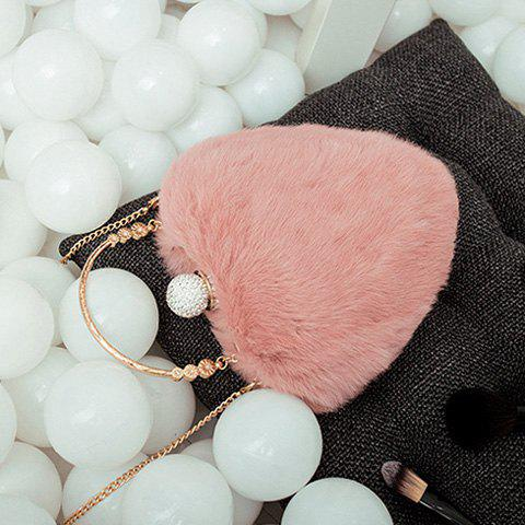 Outfits Metal Faux Fur Heart Shape Evening Bag - PINKBEIGE  Mobile