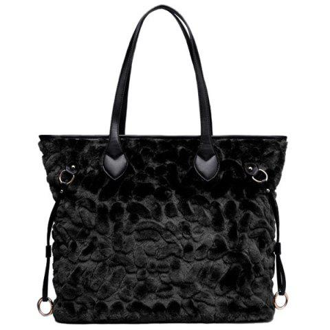 Outfit PU Leather Spliced Furry Shoulder Bag