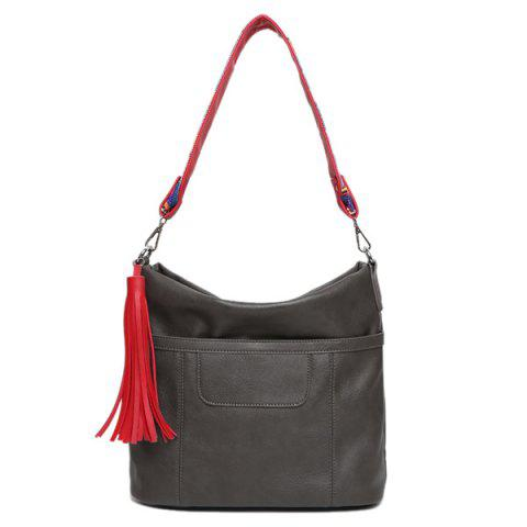 Best Colored Strap Tassel PU Leather Shoulder Bag GRAY