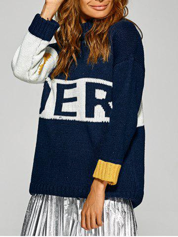 Shop Active Inverse Letter Red Pattern Sweater PURPLISH BLUE ONE SIZE