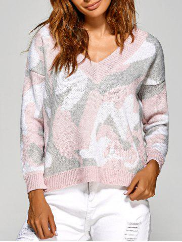 Hot Active V Neck Camouflage Sweater