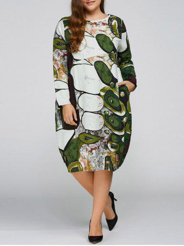 Outfits Long Sleeve Plus Size Cocoon Dress GREEN ONE SIZE