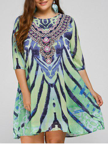 Cool Plus Size African Style Print Swing Dress - Light Green - One Size