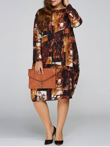 Hot Plus Size Printed Cocoon Dress with Pocket ANTIQUE BROWN ONE SIZE