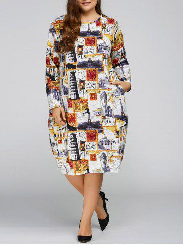 Cheap Plus Size Buildings Cocoon Dress with Pocket YELLOW ONE SIZE