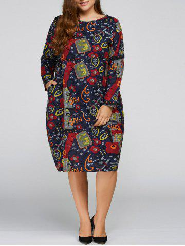 Fancy Plus Size Flower Cocoon Dress with Pocket